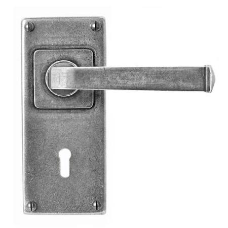 Finesse Allendale Door Handles Jesmond Lock Plate FD074 Solid Pewter