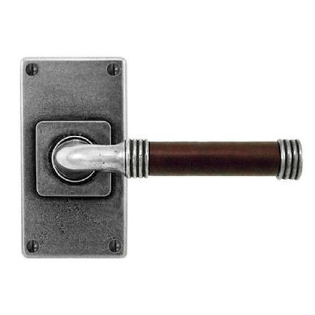 Finesse Jarrow Door Handles Jesmond Short Plate FD107C Pewter & Brown Leather