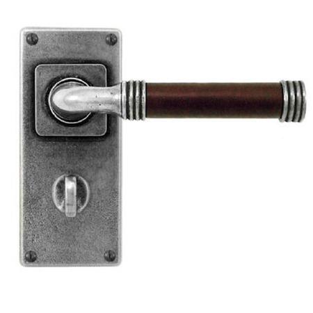 Finesse Jarrow Bathroom Door Handles Jesmond Plate FD108C Pewter & Brown Leather