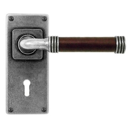 Finesse Jarrow Door Lock Handles Jesmond Plate FD109C Pewter & Brown Leather