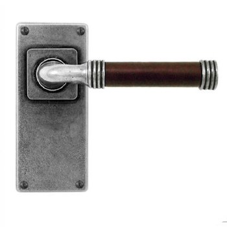 Finesse Jarrow Door Handles Jesmond Plate FD124C Pewter & Brown Leather