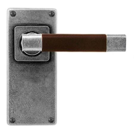 Finesse Jedburgh Door Handles Jesmond Plate FD125C Pewter & Brown Leather