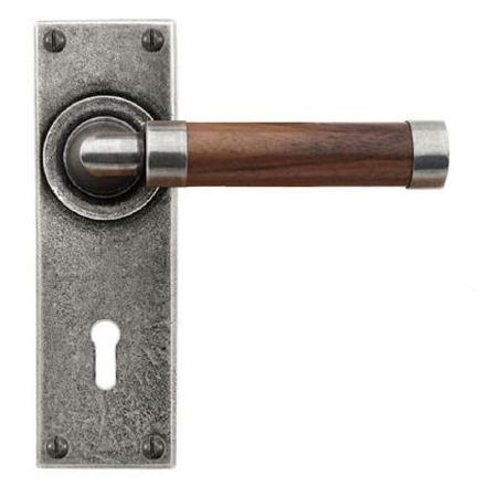 Finesse Milton Door Lock Handles FD144 Pewter & Walnut