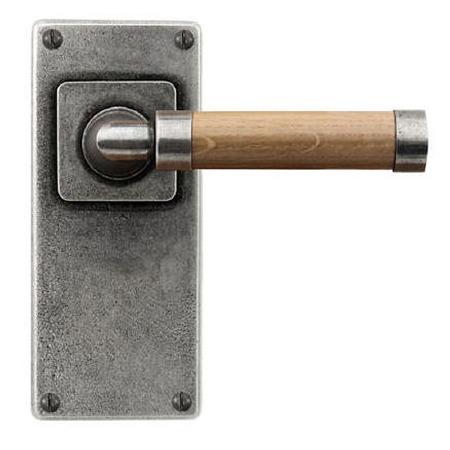Finesse Milton Door Handles Jesmond Plate FD149 Pewter & Oak