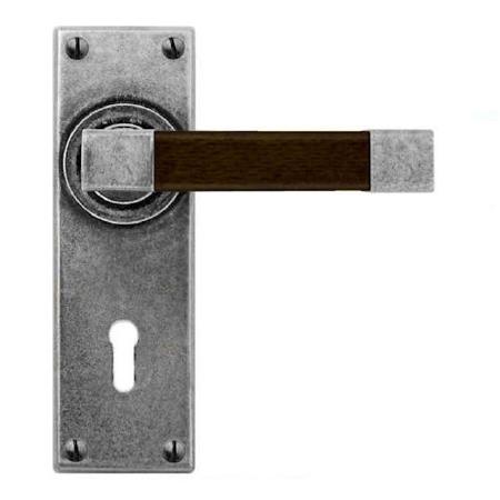 Finesse Eden Door Lock Handles FD162 Pewter & Walnut