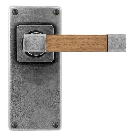 Finesse Eden Door Handles Jesmond Plate FD167 Pewter & Oak