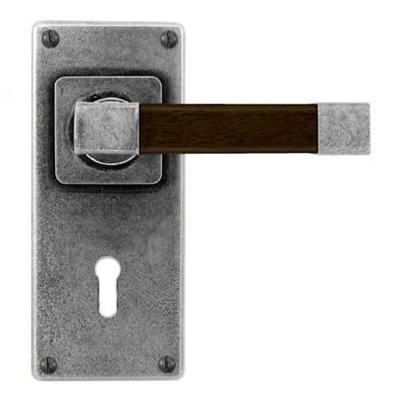 Finesse Eden Door Lock Handles Jesmond Plate FD172 Pewter & Walnut