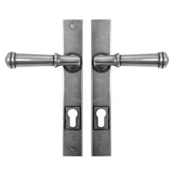 Finesse Durham Multipoint Entry Door Handles Lock Plate FDMP01 Solid Pewter