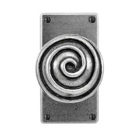 Finesse Swirl Jesmond Door Knobs on Short Latch Plate FD080 Pewter