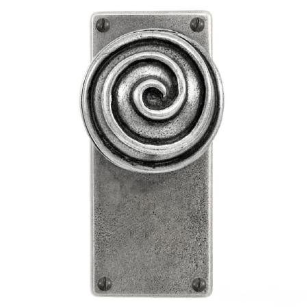 Finesse Swirl Jesmond Door Knobs on Latch Plate FD117 Solid Pewter
