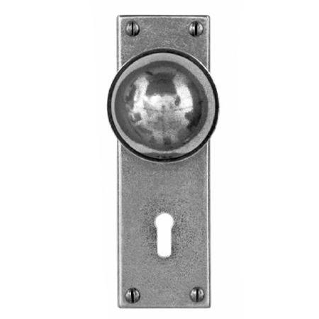 Finesse Pelton Door Knobs on Lock Plate FD175 Solid Pewter