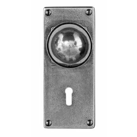 Finesse Pelton Door Knobs Jesmond Lock Plate FD179 Solid Pewter