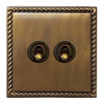 Georgian Dolly Switch 2 Gang Antique Brass Lacquered