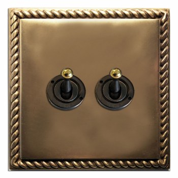Georgian Dolly Switch 2 Gang Hand Aged Brass