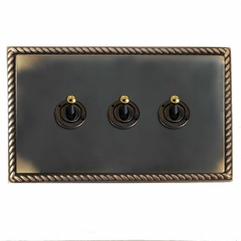 Georgian Dolly Switch 3 Gang Dark Antique Relief