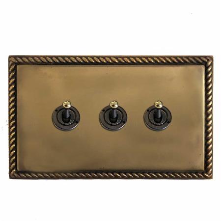 Georgian Dolly Switch 3 Gang Hand Aged Brass