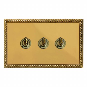 Georgian Dolly Switch 3 Gang Polished Brass Unlacquered