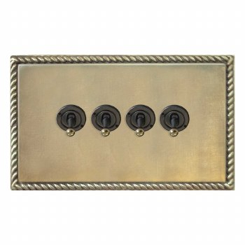 Georgian Dolly Switch 4 Gang Antique Satin Brass