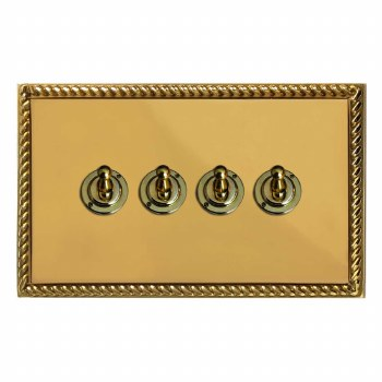 Georgian Dolly Switch 4 Gang Polished Brass Unlacquered