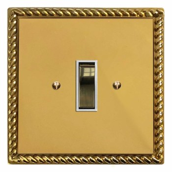 Georgian Rocker Light Switch 1 Gang Polished Brass Lacquered & White Trim