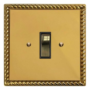 Georgian Rocker Light Switch 1 Gang Polished Brass Lacquered & Black Trim