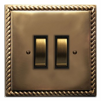 Georgian Rocker Light Switch 2 Gang Hand Aged Brass