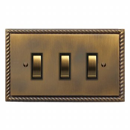 Georgian Rocker Light Switch 3 Gang Antique Brass Lacquered