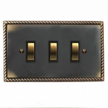 Georgian Rocker Light Switch 3 Gang Dark Antique Relief