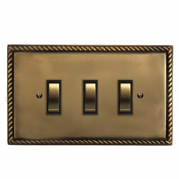 Georgian Rocker Light Switch 3 Gang Hand Aged Brass