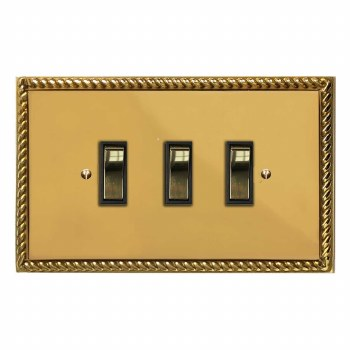 Georgian Rocker Light Switch 3 Gang Polished Brass Unlacquered