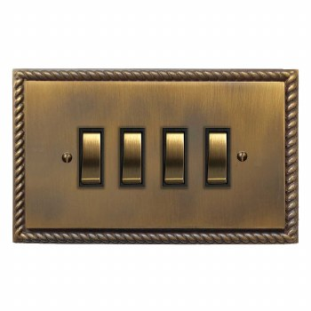 Georgian Rocker Light Switch 4 Gang Antique Brass Lacquered