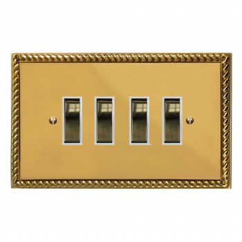Georgian Rocker Light Switch 4 Gang Polished Brass Lacquered & White Trim