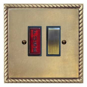Georgian Switched Fused Spur Illuminated Antique Satin Brass