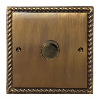 Georgian Dimmer Switch 1 Gang Antique Brass Lacquered