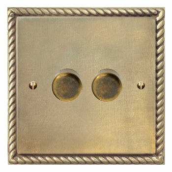 Georgian Dimmer Switch 2 Gang Antique Satin Brass