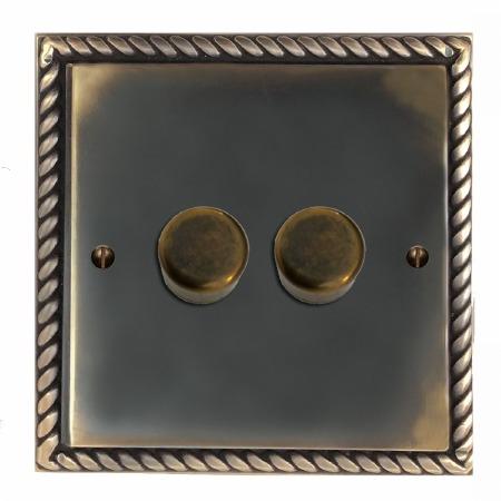 Georgian Dimmer Switch 2 Gang Dark Antique Relief