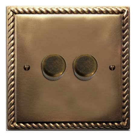 Georgian Dimmer Switch 2 Gang Hand Aged Brass