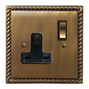 Georgian Switched Socket 1 Gang Antique Brass Lacquered
