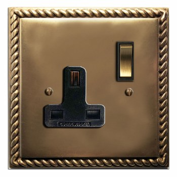 Georgian Switched Socket 1 Gang Hand Aged Brass
