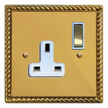 Georgian Switched Socket 1 Gang Polished Brass Lacquered & White Trim