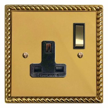 Georgian Switched Socket 1 Gang Polished Brass Lacquered & Black Trim