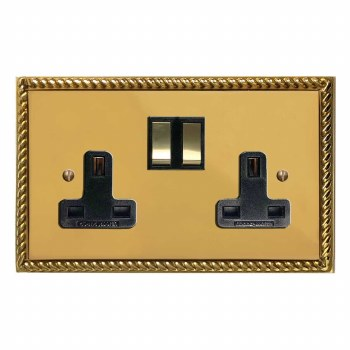 Georgian Switched Socket 2 Gang Polished Brass Lacquered & Black Trim