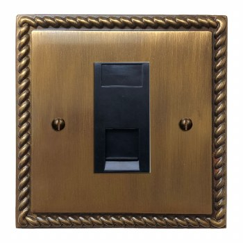 Georgian Telephone Socket Secondary Antique Brass Lacquered