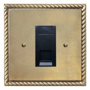 Georgian Telephone Socket Secondary Antique Satin Brass