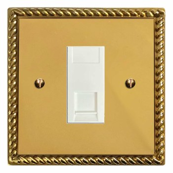 Georgian Telephone Socket Secondary Polished Brass Lacquered & White Trim