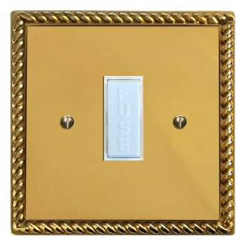 Georgian Fused Spur Connection Unit 13 Amp Polished Brass Lacquered & White Trim
