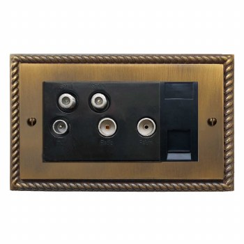 Georgian Sky+ Socket Antique Brass Lacquered