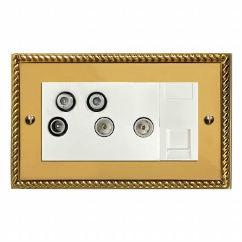 Georgian Sky+ Socket Polished Brass Lacquered & White Trim