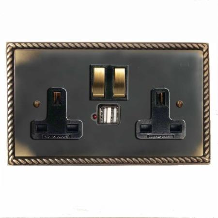 Georgian Switched Socket 2 Gang USB Dark Antique Relief