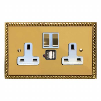 Georgian Switched Socket 2 Gang USB Polished Brass Lacquered & White Trim